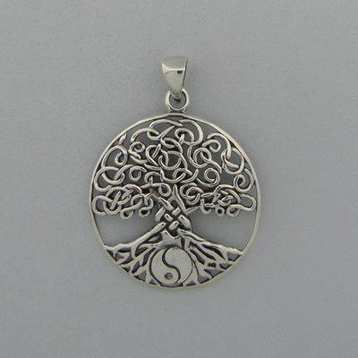 Zilveren Hanger Levensboom met Yin-Yang