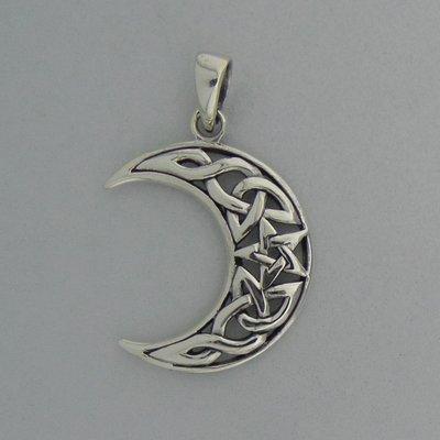 Zilveren Hanger Halve Maan met Pentagram