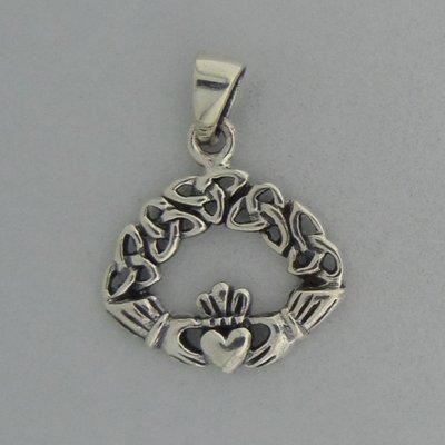 Zilveren Hanger Claddagh met Triquetra