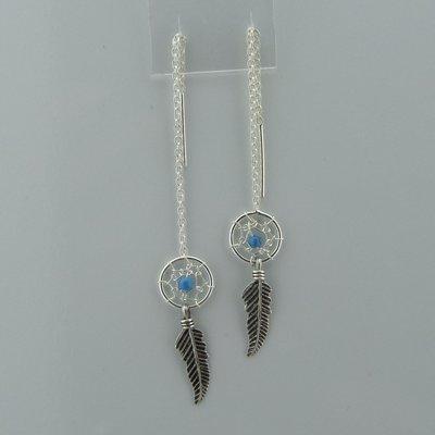 Zilveren Doortrek Oorbel Dromenvanger turquoise