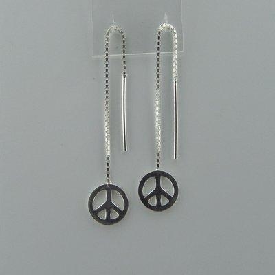 Zilveren Doortrek Oorbel Vredesteken
