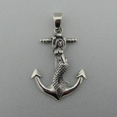 Zilveren Hanger Anker met Zeemeermin