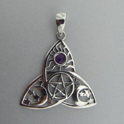 Zilveren Hanger Keltische Triquetra Pentagram Maan Zon met Amethist