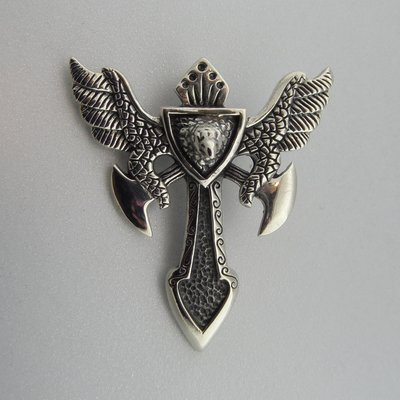 Zilveren Hanger Kruis met Adelaar en Bijlen