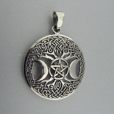 Zilveren Hanger Levensboom, Pentagram en twee Halve Manen