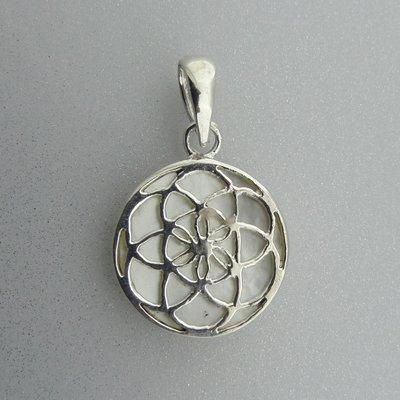 Zilveren Hanger Flower of Life op Parelmoer
