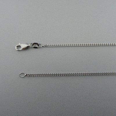 Gerhodineerd Zilveren Ketting Gourmet 45 cm