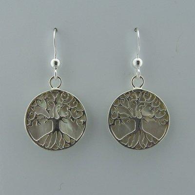 Zilveren Oorbel Levensboom op Parelmoer