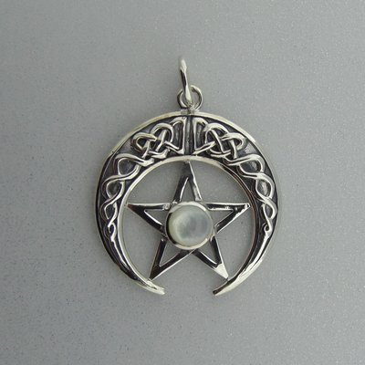 Zilveren Hanger Keltische Pentagram met parelmoer in Halve Maan