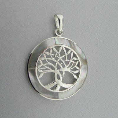 Zilveren Hanger Levensboom in Cirkel van Parelmoer
