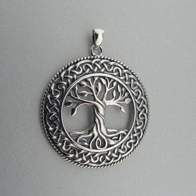 Zilveren Hanger Levensboom in Keltische Cirkel