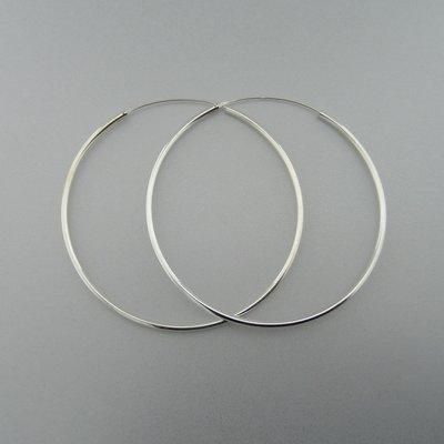 Zilveren Oorring Glad 70mm