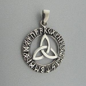 Zilveren Hanger Keltische Triquetra in Runen Cirkel