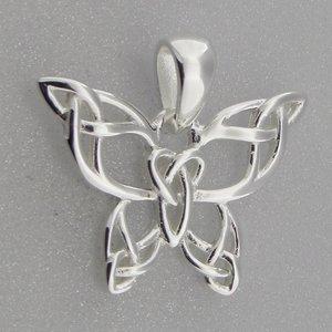 Zilveren Hanger Vlinder met Keltische Knopen