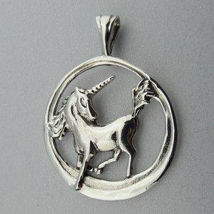 Zilveren Hanger Eenhoorn in Cirkel