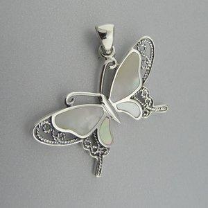 Zilveren Hanger Vlinder met Parelmoer